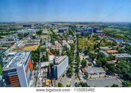 Bucharest, Romania - October 25, 2015: Bucharest North Side, Business District. Since 2000, The City