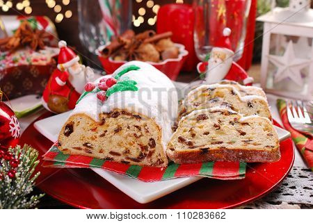 Christmas Stollen Cake On Festive Table