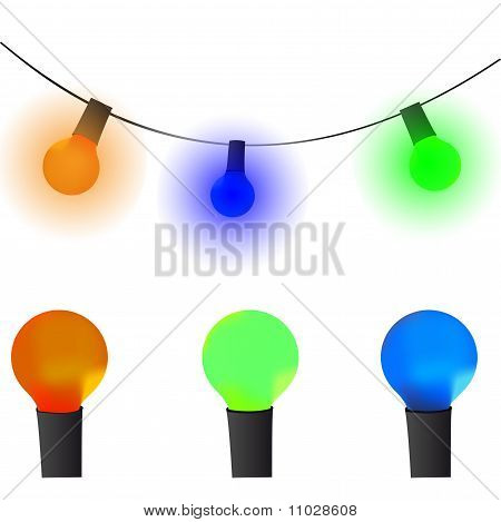 Old lamp garland vector wallpaper