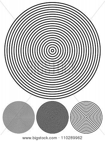 Concentric Circle Elements. Set Of 4 Version. Vector.