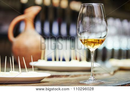 White wine glass for tasting or degustation in the cellar