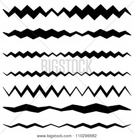 Set Of Wavy Zigzag Lines In Different Weights.