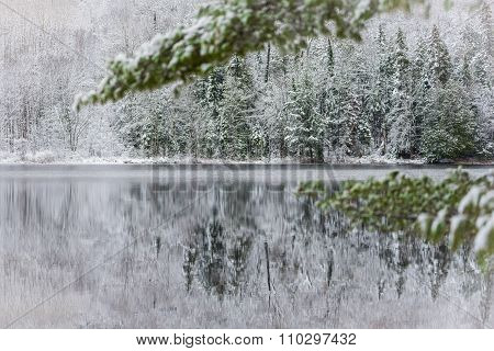 Still waters reflect the forests.  Light dusting of snow. Overcast grey November sky