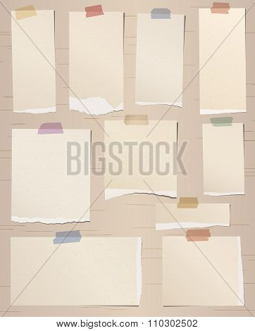 Set of various brown torn note papers with adhesive tape