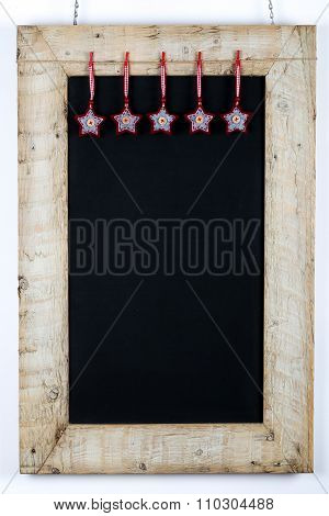 Chalkboard Blackboard Reclaimed Wood Frame With Fabric Stars Decoration
