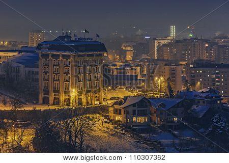 Winter Night Cityscape, Brasov, Romania