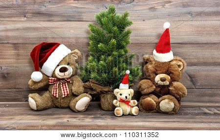 Christmas Decoration With Nostalgic Toys Teddy Bear Family