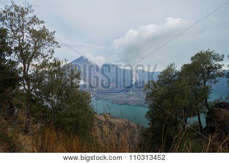 Mount Rinjani crater lake