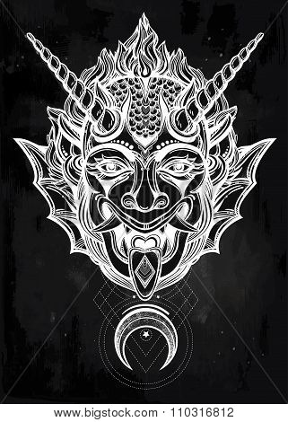 Hand drawn portrait of a horned moon deamon.