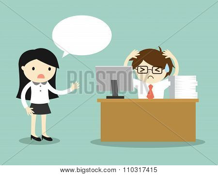 Business concept, business woman complains about businessman's work.