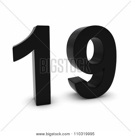 Black 3D Number Nineteen Isolated On White With Shadows