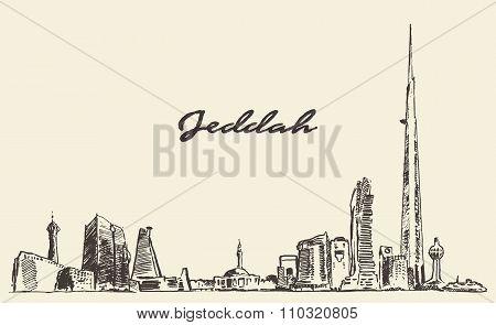 Concept Jeddah skyline with Kingdom Tower drawn