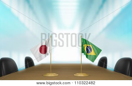 Japan and Brazil relations and trade deal talks 3D rendering
