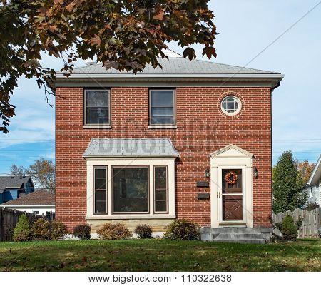 Empty Modest Brick Duplex House