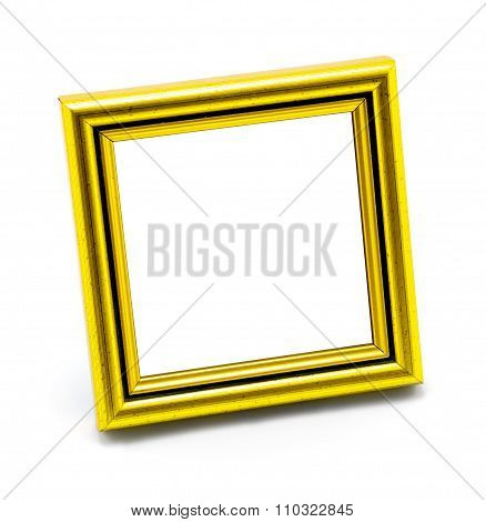 Square Classic Empty Yellow Photo Frame Isolated On White