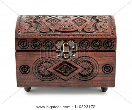 Cherry Wood Carved Casket Handmade Isolated On White