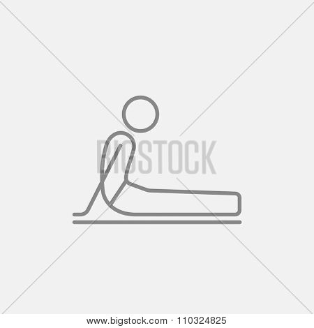 A man practicing yoga upward dog pose line icon for web, mobile and infographics. Vector dark grey icon isolated on light grey background.