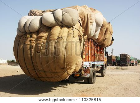 Overloaded Indian truck
