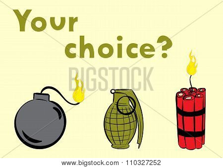 Choice of explosive or bomb