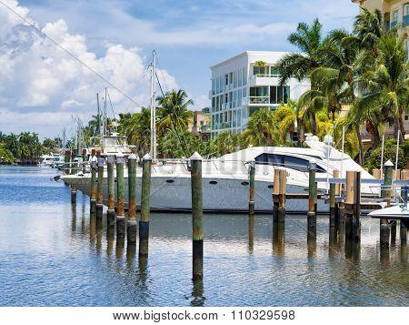 Marina with yachts and sailboats at Fort Lauderdale in Florida