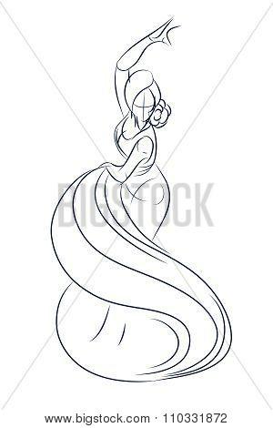 flamenco gypsy dancer ink sketch gesture drawing