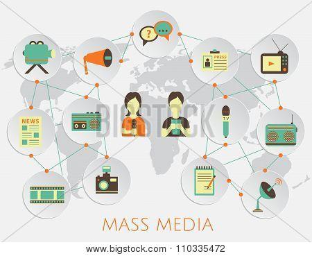 Mass media journalism news concept flat business icons of newspaper paparazzi profession live radio