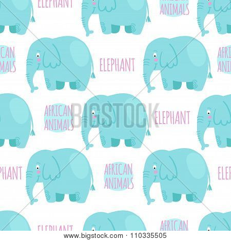 Elephan with lettering on a white background isolated. African a