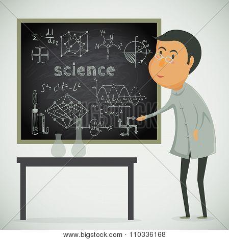 Scientist with chalk board in laboratory. Vector cartoon illustration