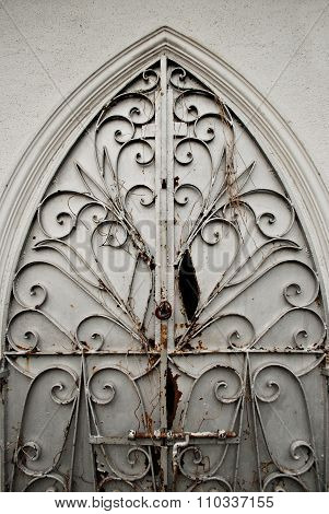 Damaged Old Ornate Metal Door Gate