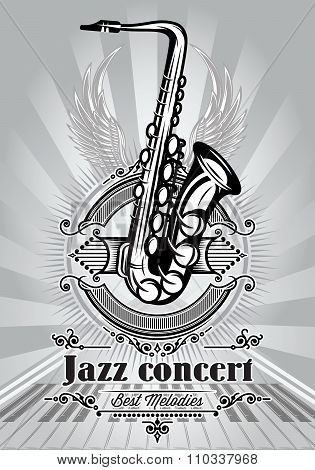 Retro Poster For Jazz Concert With Saxophone And Piano