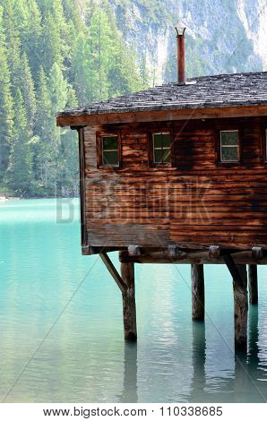 Details of typical stilt house braies Lake