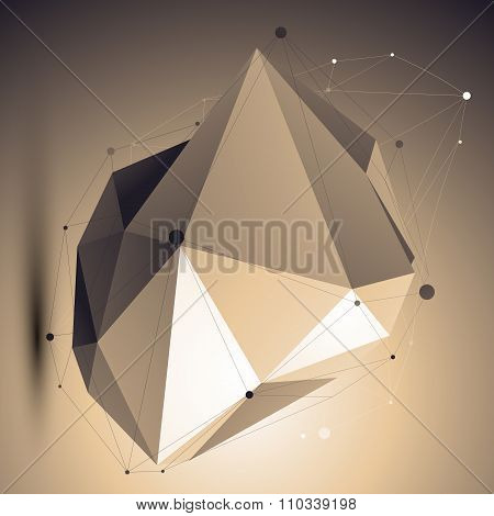 Spatial Technological Shape, Polygonal Asymmetric Eps8 Wireframe Object Placed Over Shaded Backgroun