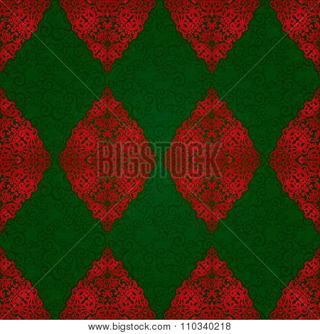 Vintage Seamless Pattern With Red Lacy Ornament.