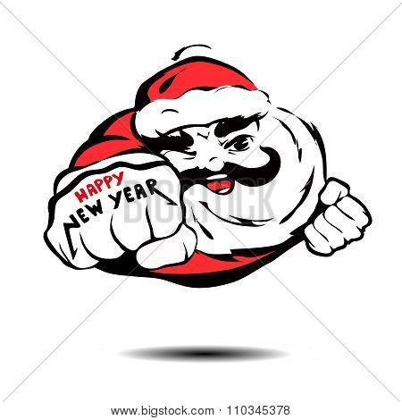 cool Santa Claus flies like Superman