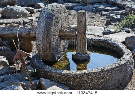 The Ancient Part Of The Oil Press Is Found In The National Park Gamla Israel
