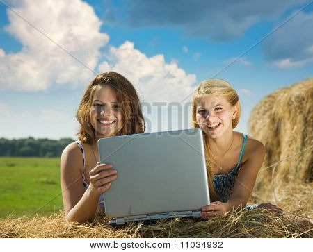 Girls With   Notebook  In Farmland
