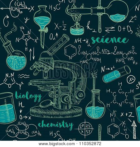 Vintage seamless pattern old chemistry laboratory with microscope, tubes and formulas. Vector retro