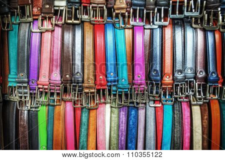 Close Up Of Colorful Leather Belts