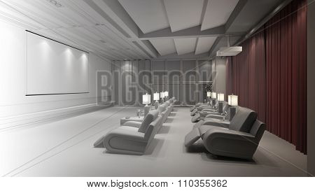 Plannung and CAD construction of home theater (3D Rendering)