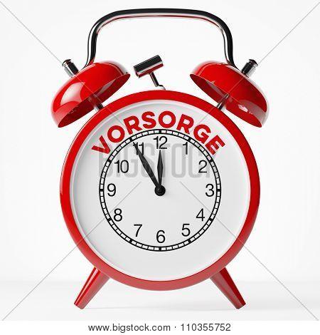 Red vintage alarm clock with the German word