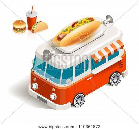 Van with fast food