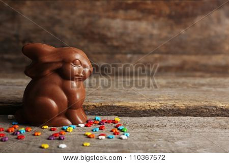 Chocolate Easter bunny on wooden background