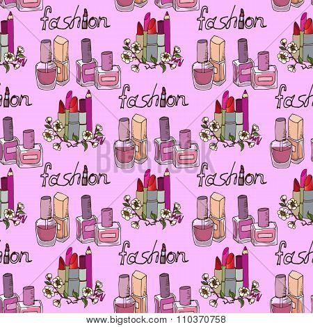 Illustration Of Cosmetics. Nail Polishes Fashion. Seamless Pattern.