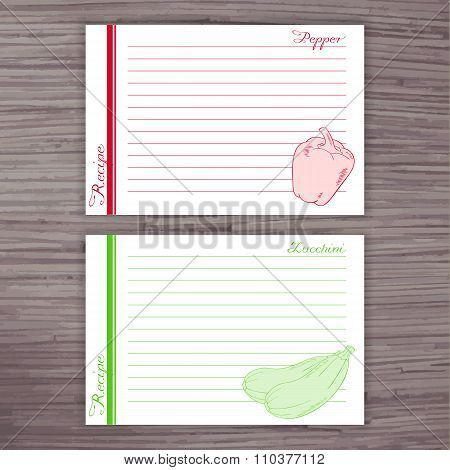 Vector Lined Recipe Card With Vegetables On Wooden Background. Pepper, Zucchini