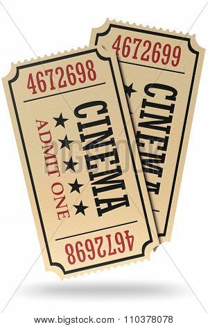 Pair Of Retro Cinema Tickets Isolated With Shadow
