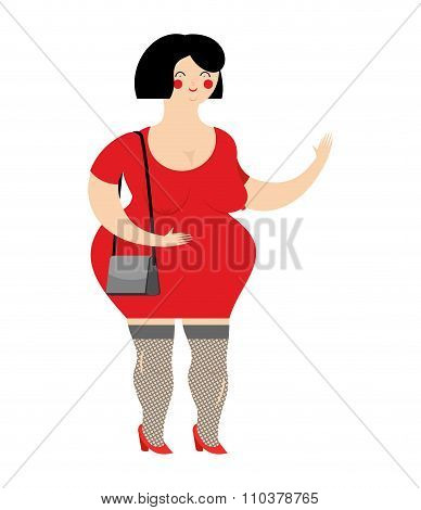 Funny Fat Prostitute In Red Dress. Slut With Bag On White Background. Female Sex Worker. Girl With A