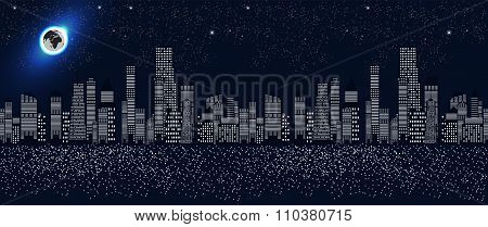 Seamless Pattern Vector Illustration of Cities Silhouette.