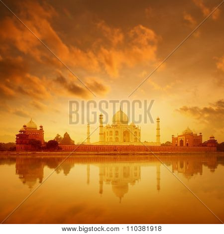 Taj Mahal in Agra, India on sunrise