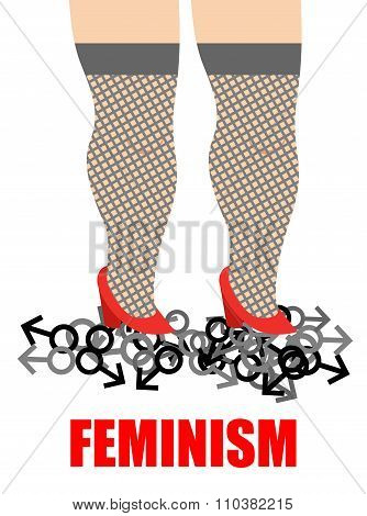 Feminism. Womens Feet Trampling Men Sign. Illustration For Womens Movement,  Aim Of Which Is To Elim