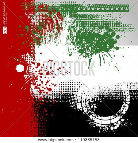 abstract grunge. UAE Flag, United Arab Emirates Concept, green, red, black, white